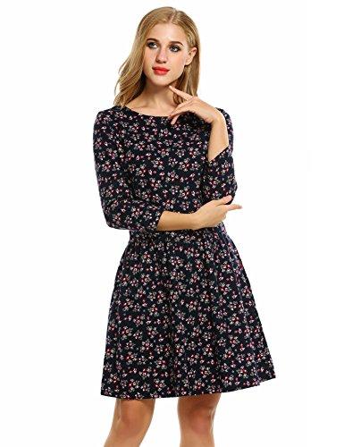 Damen Blusenkleid Cocktailkleid Partykleid Blumenkleid Druckkleid Mit 3/4-langen Ärmeln Blau