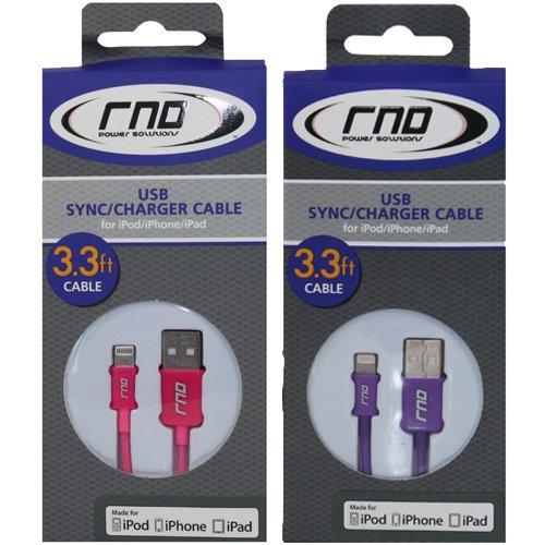 Rnd 2x certificato Apple Lightning a USB 1m cavo per iPhone (6/6Plus/6s/6s Plus/5/5S/5C/se) iPad (Air/Pro/Mini) iPod e Siri telecomando per sincronizzazione dati e ricarica 8-pin (1