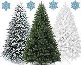 XONIC Künstlicher Weihnachtsbaum Tannenbaum 30,60,90,120, 150, 180,210 240cm Christbaum Baum GRÜN Weiss Schnee (120, Weiss)