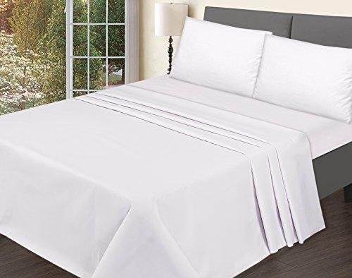 T200sábana bajera ajustable–Fácil cuidado 100% Premium calidad gama de productos en color juego de cama de bemode, Blanco, Doublé