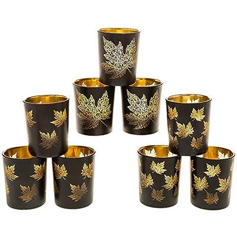 AUTUMN Maple LEAVES - SET OF 3 - Black & Gold Maple Leaf Pattern Candle Holders - for Tea Lights (1 SET OF 3) - 6.5cm