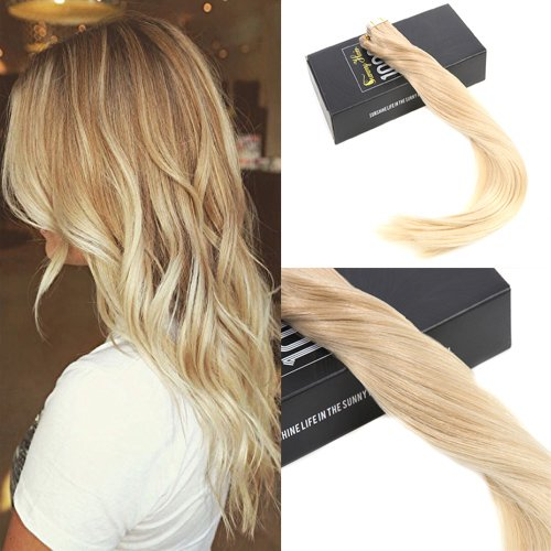 Sunny 20pcs/50g ombre balayage exstention per capelli veri 100% remy seamless tape in capelli extensions 18