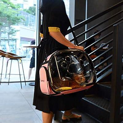 Legendog Cat Travel Bag,Breathable Folding Kitten Carrier Bag,Transparent Handbag for Pet Cats Rabbit Comfort travel (Pink) by Legendog