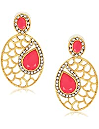 Spargz Designer Pink Metal AD Stone Drop Earring For Women AIER 548