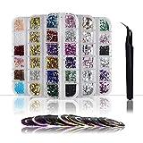ZKSM 5800 strass Art strass coloré yeux de cheval avec 29 rouleaux de bande de striping et 1 * brucelles pour accessoires de décoration Nail Art et bricolage (5 boîtes strass multicolores)