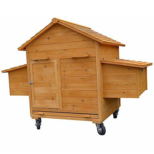 Melko® XXL Hühnerstall Hühnerhaus inklusive Rampe, 157 x 90 x 114 cm, aus Holz, rollbar, 2 Nestboxen - 2