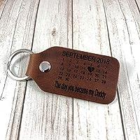 Personalised Genuine Distressed Brown Leather Calendar Date keyring - Wedding Anniversary Gift