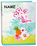 alles-meine.de GmbH Ordner / Ringbuch / Sammelordner -  Flamingo & Hibiskus Blume - Hawaii  - incl. Name - A4 - Ringordner für Dokumente / 2 Ring & Hebel - Mechanik - Aktenordn..