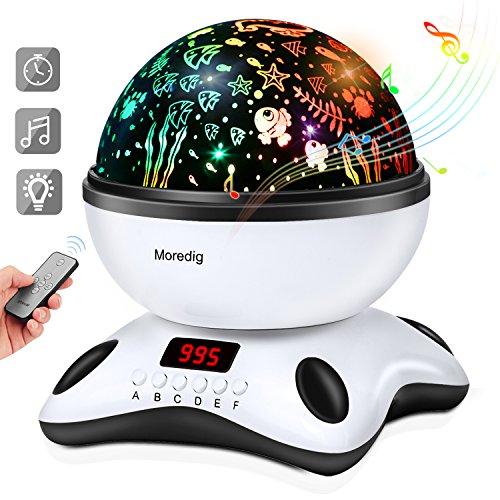 Moredig Lámpara proyector estrellas, 360 grados rotación músic lampara con...