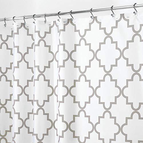 mDesign Duschvorhang Anti-Schimmel - Dusch- & Badewannenvorhang mit Gitter-Muster - Duschvorhang wasserabweisend - 12 verstärkte Löcher für einfache Aufhängung - hellgrau