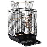 Yaheetech Cage à Oiseaux pour perruches et canari avec Jouet à Oiseaux Noir