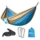 Forbidden Road Hammock Single Double Camping Lightweight Portable Hammock for Outdoor Hiking Travel Backpacking - Nylon Hammock Swing - Support 400lbs Ropes Carabineers 10 Colors
