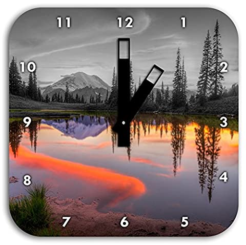 Sunrise at a small lake black / white, wall clock diameter 28cm with black square hands and face, decoration items, Designuhr, aluminum composite very nice for living room,