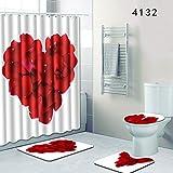 MDZZ Love Pattern Shower Curtain Set A Loving Home Polyester Waterproof Bathroom Supplies 4Pcs,G,180 * 180Cm+50 * 80Cm