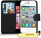 Apple iPhone 4 / 4S Premium Leather Black Wallet Flip Case Cover Pouch + Mini Touch Stylus Pen + RED 2 IN 1 Dust Stopper + Screen Protector & Polishing Cloth SVL1 BY SHUKAN®, (WALLET BLACK)