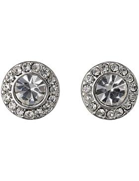 Pilgrim Jewelry Damen-Ohrstecker Messing Pilgrim Damen-Ohrstecker aus der Serie Classic versilbert,weiß 0.9 cm...