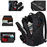 Travel Laptop Backpack, Durable Laptop rucksack Large Capacity TSA Scansmart Laptop Business Backpack with USB Charging Port,Water Resistant Large Compartment Fit 17.3 Laptop backpack for school,office,university,college,campus,laptop rucksack for Men Women Ladies,Fits HP/Dell/Asus/Acer laptop,Black
