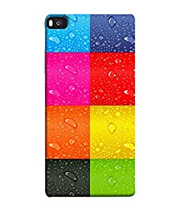 FUSON Designer Back Case Cover for Huawei P8 (Water Droplets Multicolour Blue Red Pink Sky )