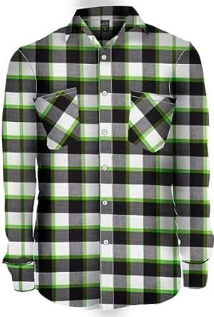TB411 'Urban Classics' Tricolor Checked Light Flanell Shirt (Various Colours), Größe:L;Farbe:blk/wht/lgr