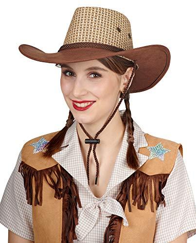 Andrea-Moden Cowboy Cowgirl Hut in Flechtoptik - Braun - Zubehör Wild West Kostüm Ranger Wildhüter Safari Girl Gaucho