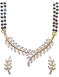 Zeneme American Diamond Gold Plated Mangalsutra Pendant With Chain And Earrings For Women