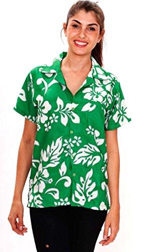 Funky Hawaiibluse, Hibiskus, grün, (Shirts Patricks St Tag Sexy)
