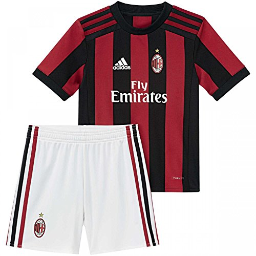 adidas AC Milan H, Anzug Fußball Unisex Kinder, AC Milan H, Rosso (Rojvic/Nero), 110