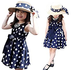 Covermason 1PC Girl Kids Clothing Polka Dot Bow-knot Chiffon Party Vacation Dress