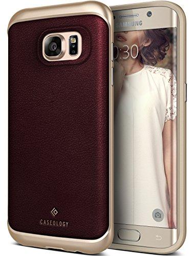 Preisvergleich Produktbild Samsung Galaxy S7 Edge Hülle, Caseology [Envoy Serie] Echt Leder Rückschale / Aufprallabsorbierenden TPU Schönheit und Schutz für [Galaxy S7 Edge] - [Burgund]