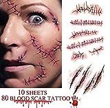 heekpek Tatouages Temporaires Halloween Zombie Scars Tatouages Autocollants avec Fake Scab Blood...