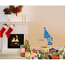 60 cm x 32 cm Tamaño de navidad color azul medio Mickey mouse con su nombre elegido, nombre, nombre personaliseitonline, árbol de Navidad, infantil, vinilo del coche, las ventanas y pared, ventanas de pared arte, etiquetas de Navidad, adorno adhesivo de vinilo ThatVinylPlace