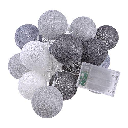 HuaYang Baumwolle Kugel Schnur Licht LED Nachtlicht Batteriebetrieben Haus Dekoration Grau (Dekoration)