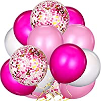 TecUnite 80 Pieces Latex Balloons Confetti Balloons Colorful Party Balloons for Christmas Valentine