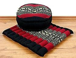 livasia Yogaset/Meditationsset der Marke Asia Wohnstudio: 1 x Zafukissen (Yogakissen) + 1 x Sitzkissen (Meditationskissen) mit Reiner Kapokfüllung, Günstiges Set (schwarz/Elefant)