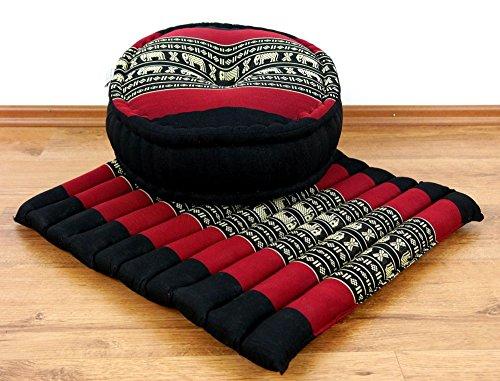 livasia Yogaset/Meditationsset der Marke Asia Wohnstudio: 1 x Zafukissen (Yogakissen) + 1 x Sitzkissen (Meditationskissen) mit Reiner Kapokfüllung, Günstiges Set (schwarz/Elefant) -