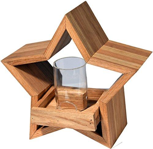 Luxus-Vogelhaus 85075e Stern Design, Ständer aus geöltem Eichenholz, Holz mit Silo, 30 x 14 x 152 cm - 5