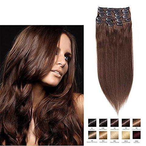Lot de 7-10 extensions de cheveux lisses à clip Remy 100 % humains pour tête complète, longueur de 16 à 71,1cm, poids de 70à 200 g - Trame de cheveux standard