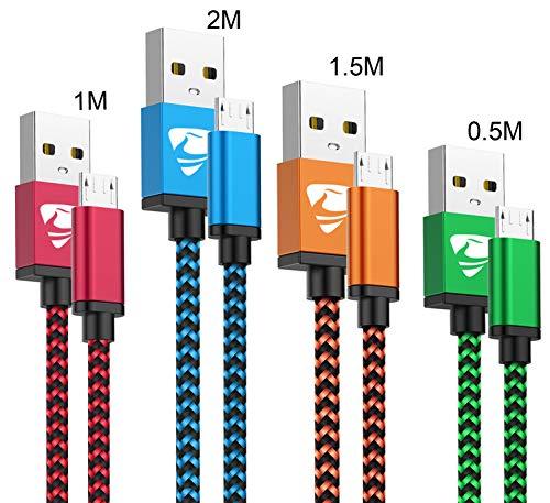 Yosou Micro USB Kabel [4-Stück, 0.5M+1M+1.5M+2M] Nylon Android Handy Ladekabel High Speed USB Ladekabel für Samsung Galaxy S7 S6 S5 J7 J5, Huawei, Sony, Nexus, HTC und mehr - Blau, Grün, Orange, Rot