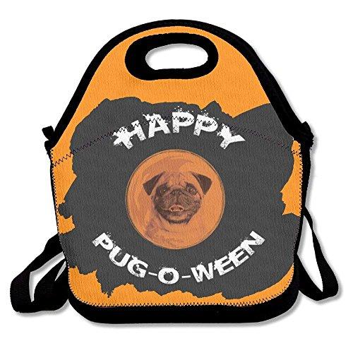 g-O-Ween Halloween Pug Lunch Bag Tote Handbag Lunchbox for School Work Outdoor ()