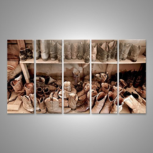 bild-bilder-auf-leinwand-zimmer-voll-von-gut-abgenutzten-cowboy-stiefel-xxl-5-teilig-direkt-vom-hers
