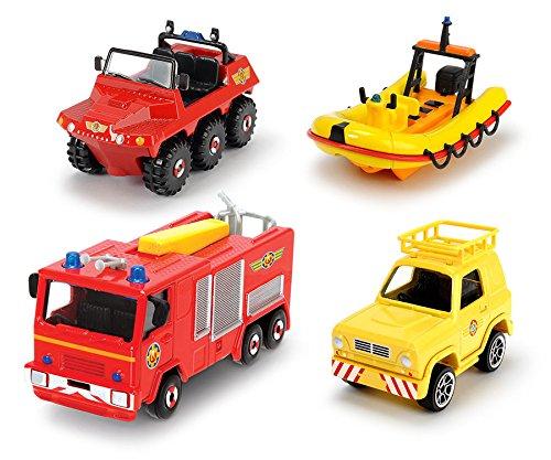 Dickie Feuerwehrmann Sam 4er Set Fahrzeug Hubschrauber Boot Quad Spielzeug: Farbe: Set 1