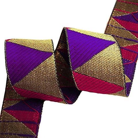 Jacquard-Ordnungs-Fertigkeit Versorgung metallic gold 5,3 cm breit Indian Sari Band durch die Werft