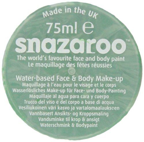 Snazaroo 1175444 Kinderschminke, hautfreundliche hypoallergene Gesichtschminke auf Wasserbasis, wasservermalbar, parabenfrei, leuchtend grün, 75 ml Topf