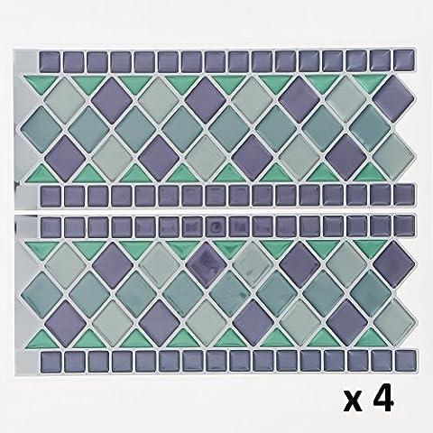 Lot de 8 Stickers mosaïque autocollants pour frise carrelage - 1 m 20 de longueur - Coloris BLEU et VERT