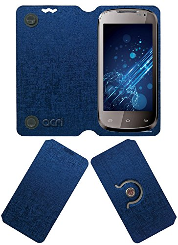 Acm Designer Rotating Flip Flap Case for Lava Xolo A500 Mobile Stand Cover Blue  available at amazon for Rs.399