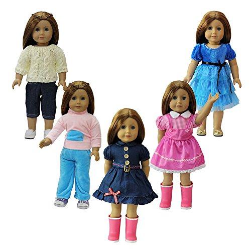 ZITA ELEMENT Puppe Kleidung-5 Pack Santa ParteiKleid Kleid + Tägliche Kostüme Outfit für 18 Zoll American's Girl Doll 45-46 cm Götz Puppe für Weihnachten (Barbie Ken Bilder Und Kostüm)