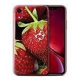 Stuff4 Coque Gel TPU de Coque pour Apple iPhone XR/Fraise Design/Fruits Collection