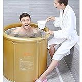 Bañeras con Jacuzzi Cubo Plegable para Adultos Barril Barril Altura Adecuada 175cm Menos de 80 kg de Personas (Color : Gold, Size : M)