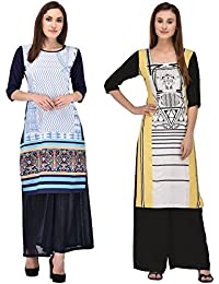 Style Badge Pink And White Digital Printed Crepe Kurti Combo(PACK OF 2)