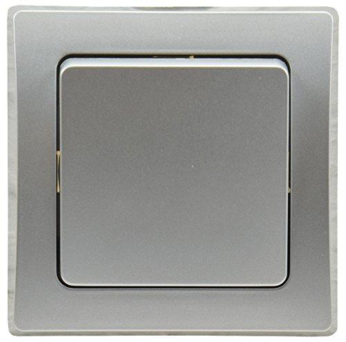DELPHI Wechsel-Schalter Lichtschalter I Unterputz Einbau I passend für UP Dosen I eine Wippe I Ein/Aus I 250V~ AC I kombinierbar mit DELPHI Komponenten I inkl. 1-fach Rahmen I silber